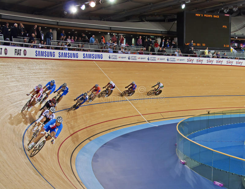 Racing at the Velodrome. Riders from around the world racing at the Velodrome in London stock photography