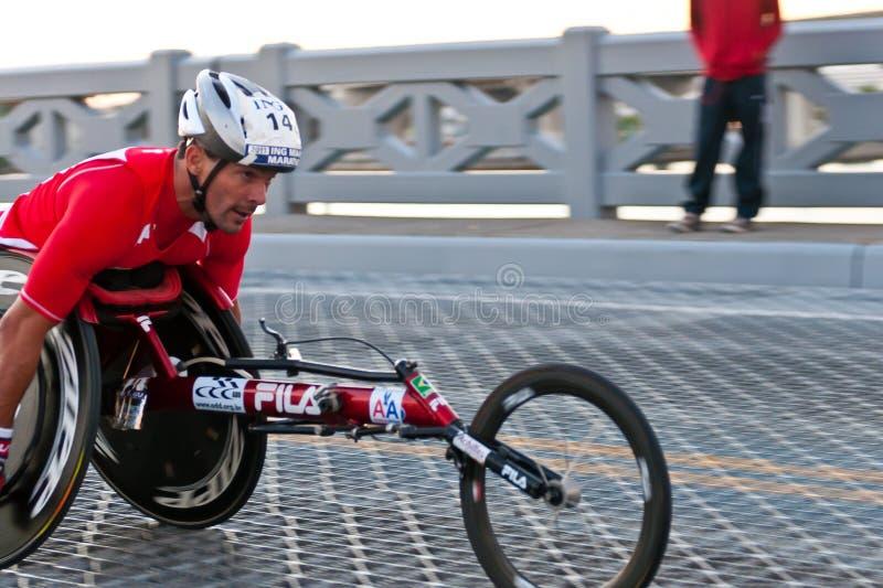 Racing in wheelchair