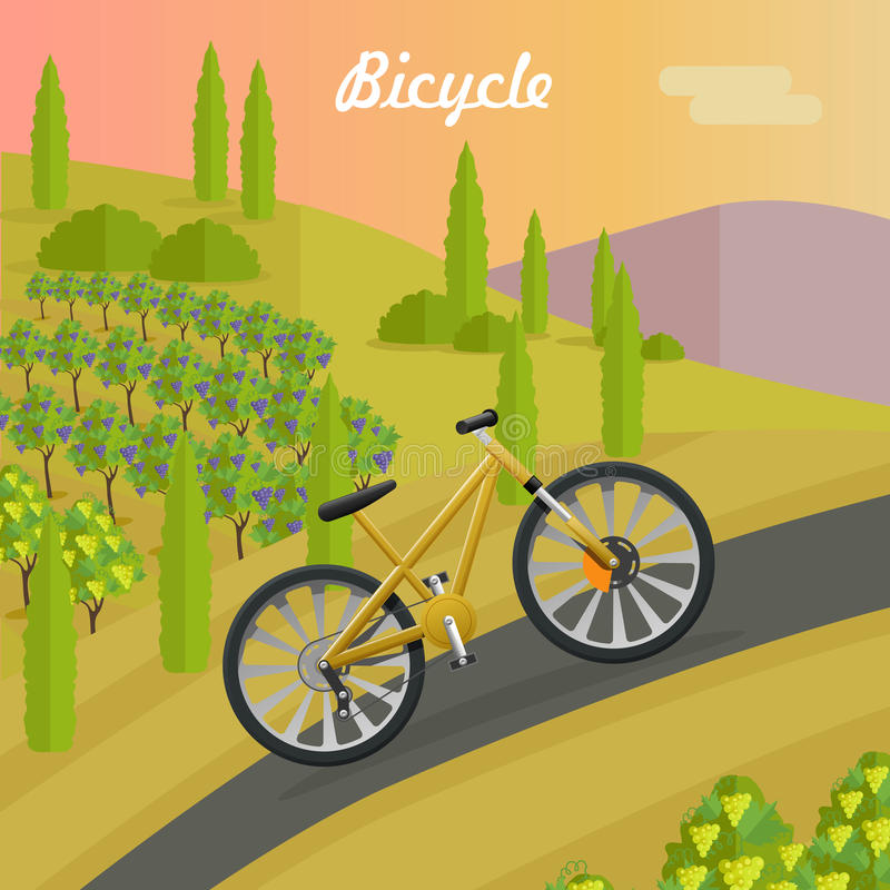 Racing Yellow Bicycle on the Asphalt Track. Racing bicycle on asphalt track in summer season. Sport yellow bike riding up road. Fast mean of transportation. Two vector illustration