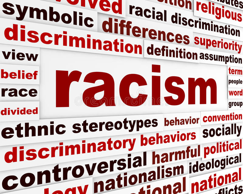 Racism humanity warning message concept. Discrimination issue creative poster design stock photography