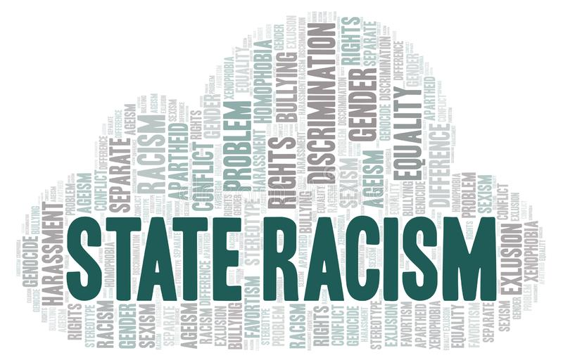 Racisme d'état - type de discrimination - nuage de mot illustration de vecteur