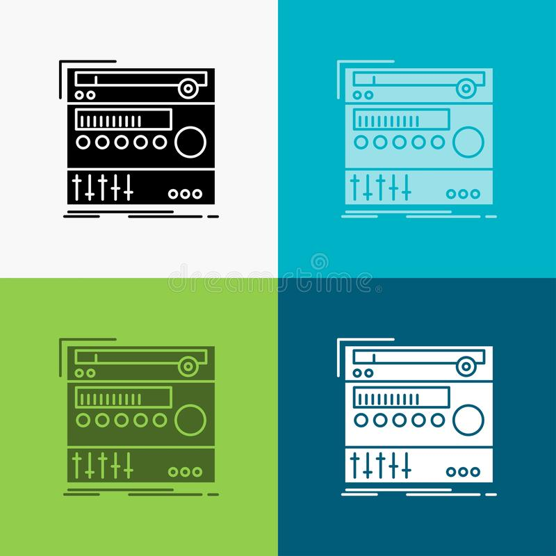 rack, component, module, sound, studio Icon Over Various Background. glyph style design, designed for web and app. Eps 10 vector stock illustration