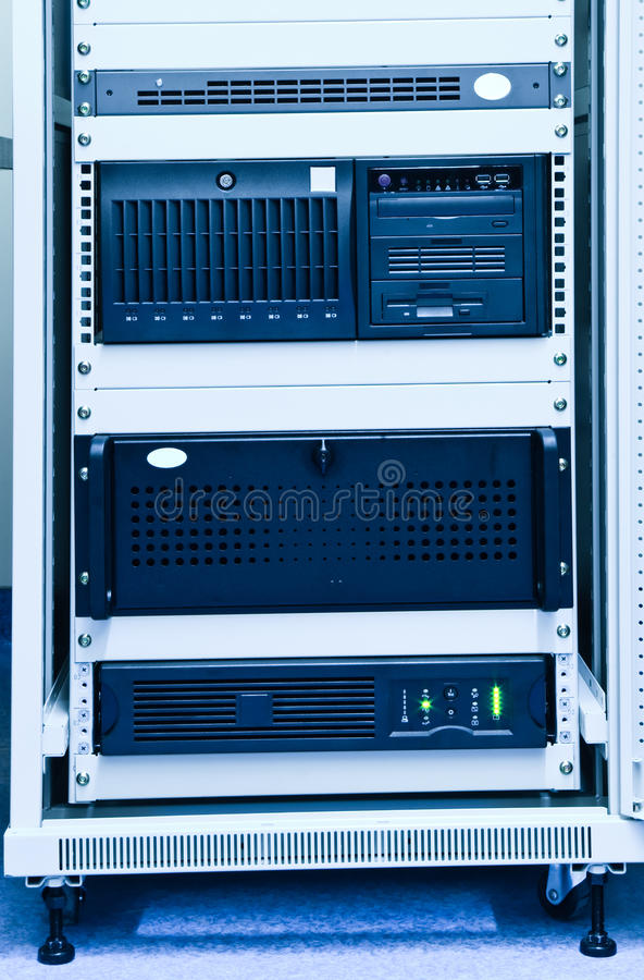 Rack with computers stock photography