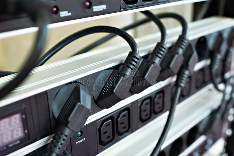 Rack with electrical outlets 220. Stand with electrical outlets 220 Volt stock photo