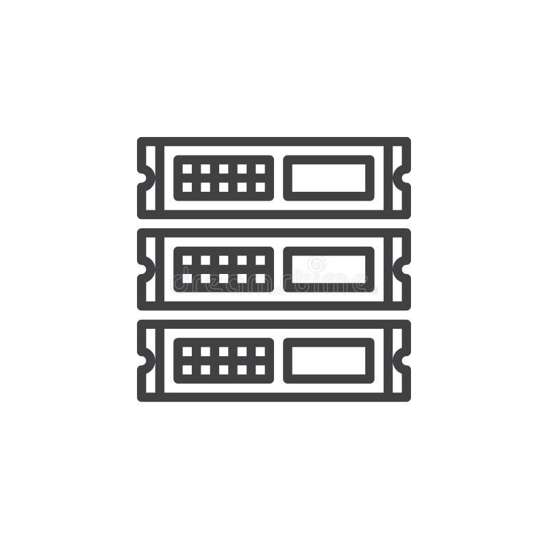 Rack enheter, serverlinjen symbolen, översiktsvektortecknet, den linjära stilpictogramen som isoleras på vit stock illustrationer