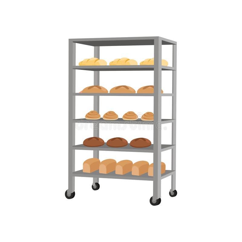 Rack with freshly baked bread vector Illustration on a white background stock illustration