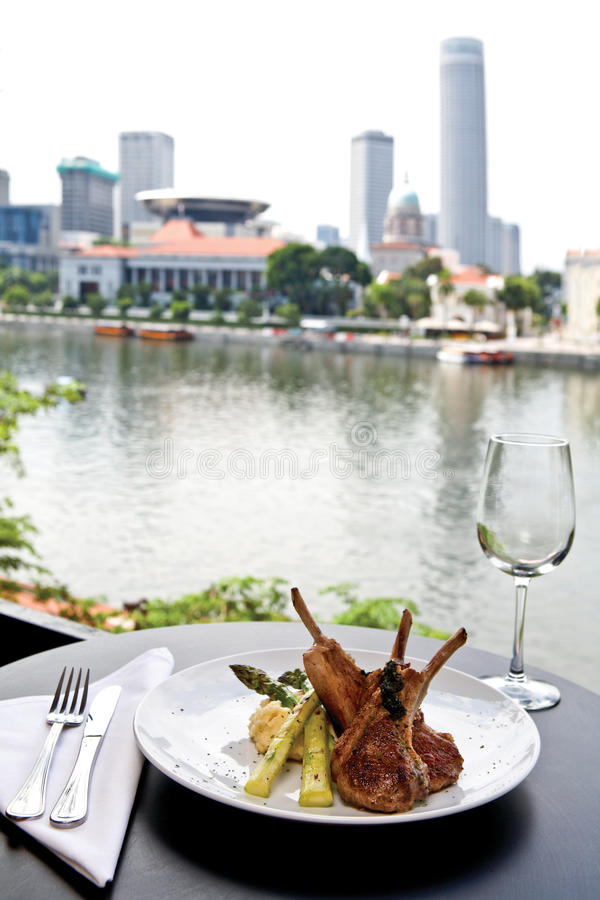 Rack of lamb with view stock photography