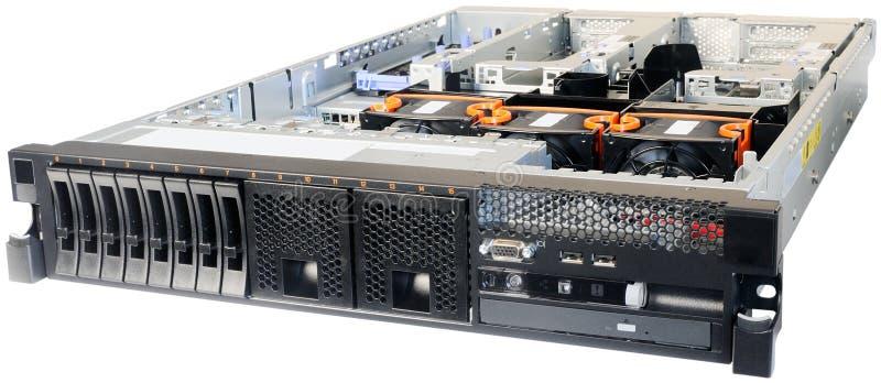 Rack-mount server over white stock photos