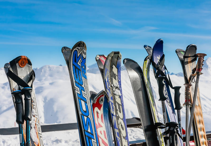 A rack packed with skis. Ski resort Livigno. Italy royalty free stock image