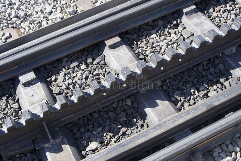 Rack rails. Detail at Kleine Scheidegg, on way to Jungfraujoch, Switzerland stock image