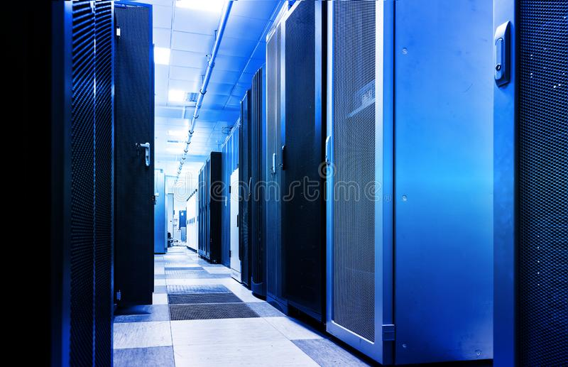 Rack server cabinet, digital composite motion blur 3d rendering. Rack server cabinet ethernet connection visualization lines. Computer server and technology vector illustration
