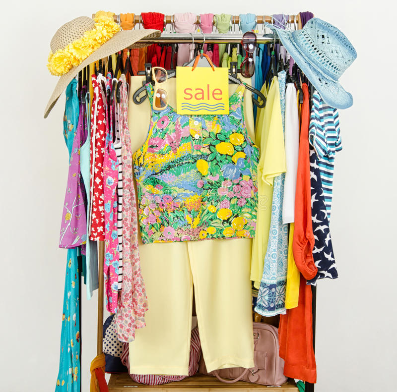 Rack With Summer Clothes And Sale Sign. Stock Photo ...