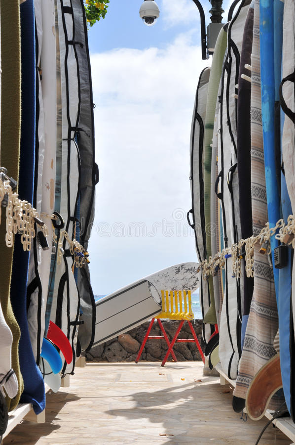 Download Rack Of Surfboards. Royalty Free Stock Photos - Image: 16134368