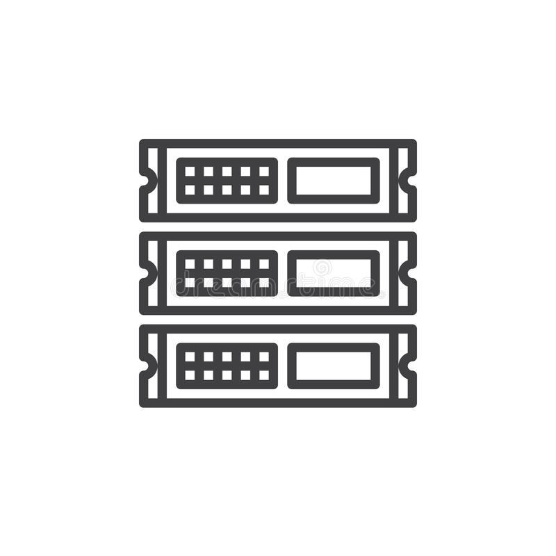Rack units, servers line icon, outline vector sign, linear style pictogram isolated on white stock illustration