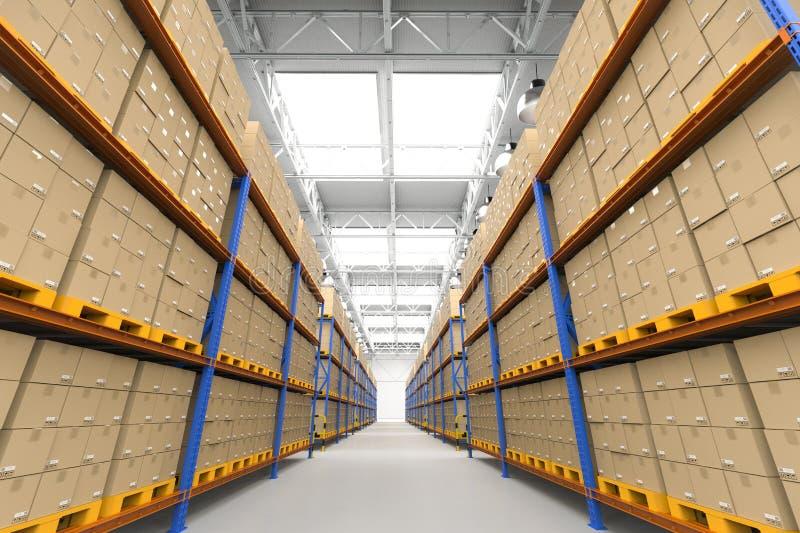 Rack in warehouse. 3d rendering racks full of carton boxes in warehouse