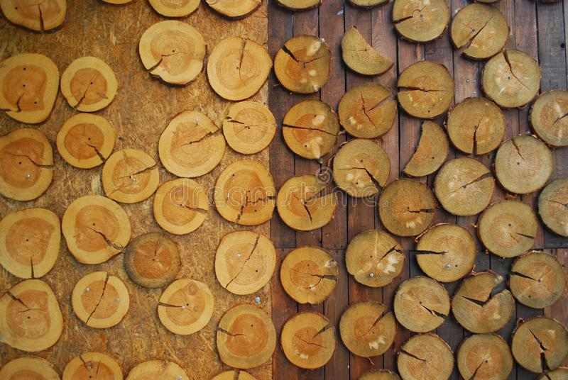 Rack with wooden circles close up stock image