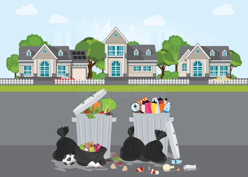 Racka ner på och smutsa ner område på gatan av byn stock illustrationer