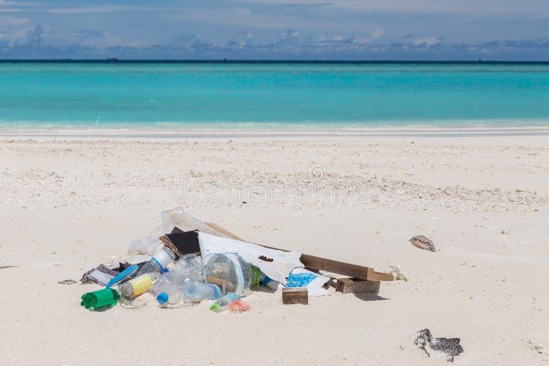 Racka ner på på strandatollön Maldiverna arkivbild