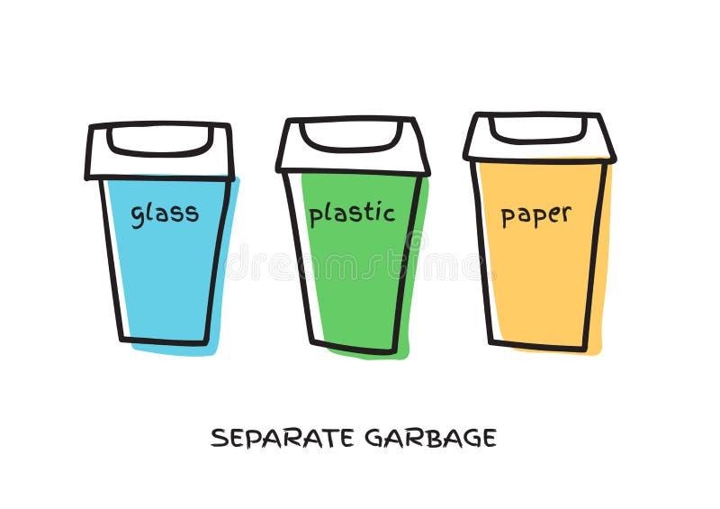 Racka ner p? fack f?r ?teranv?ndning av olika typer av avfalls Avskrädebehållare för sorterat avfall stock illustrationer