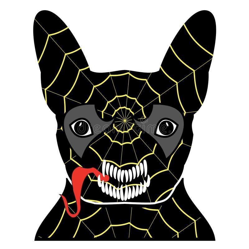 Rackaresymbol i dräkt med en spindelrengöringsduk, med tänder och att klibba ut tungan, i svart, guling, rött, och grå färger som vektor illustrationer