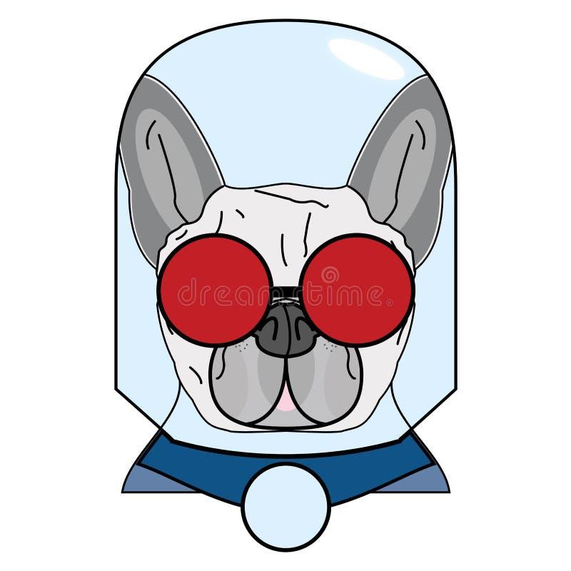 Rackaresymbol med det glass jordklotet, röda exponeringsglas och udde i rött, grått och blått som tecken för fransk bulldogg royaltyfri illustrationer