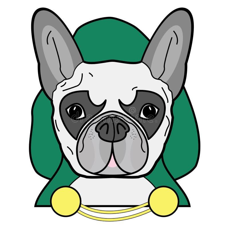 Rackaresymbol med huven, guld- kedjor för uddehäxa, i gräsplan, guling och grå färger som tecken för fransk bulldogg på vit bakgr stock illustrationer