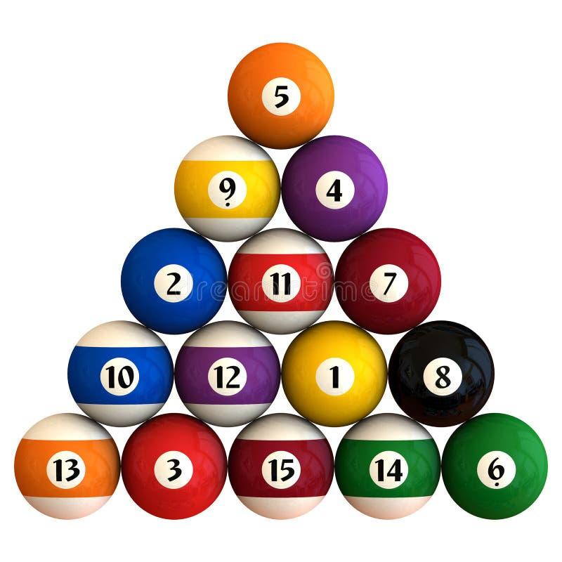 Racked pool balls vector illustration