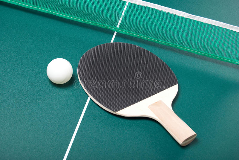 Racket and ball. Racket and ping-pong ball stock photography