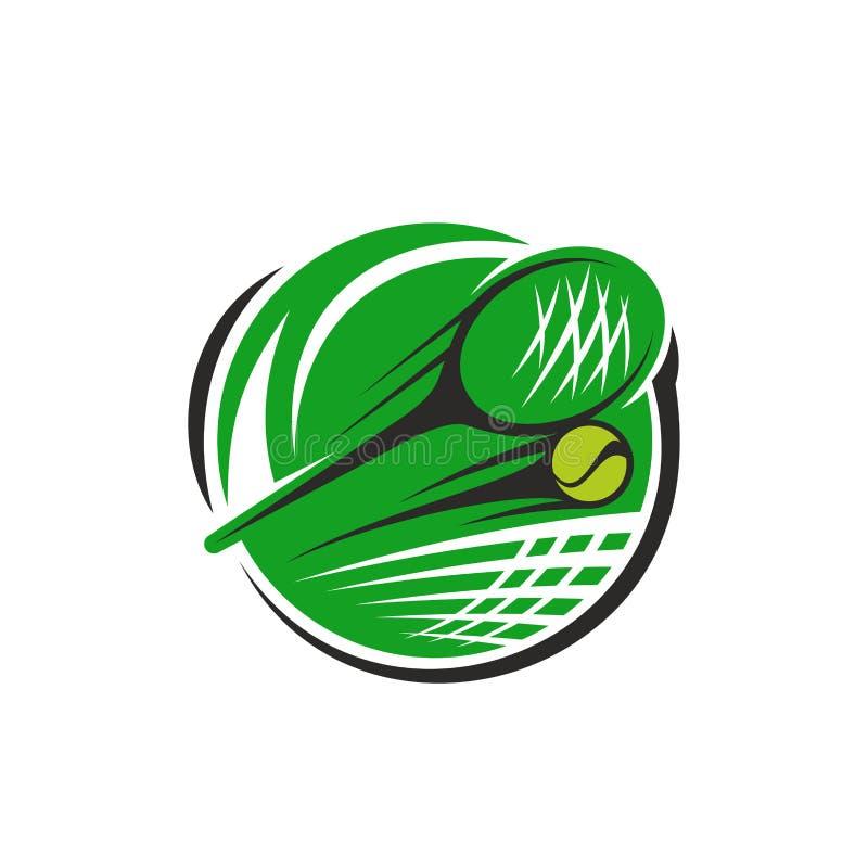 Racket en bal van het tennis de de vectorpictogram voor sportclub vector illustratie