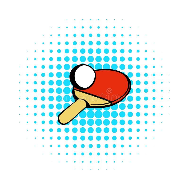 Racket för att spela bordtennissymbolen, komiker utformar stock illustrationer