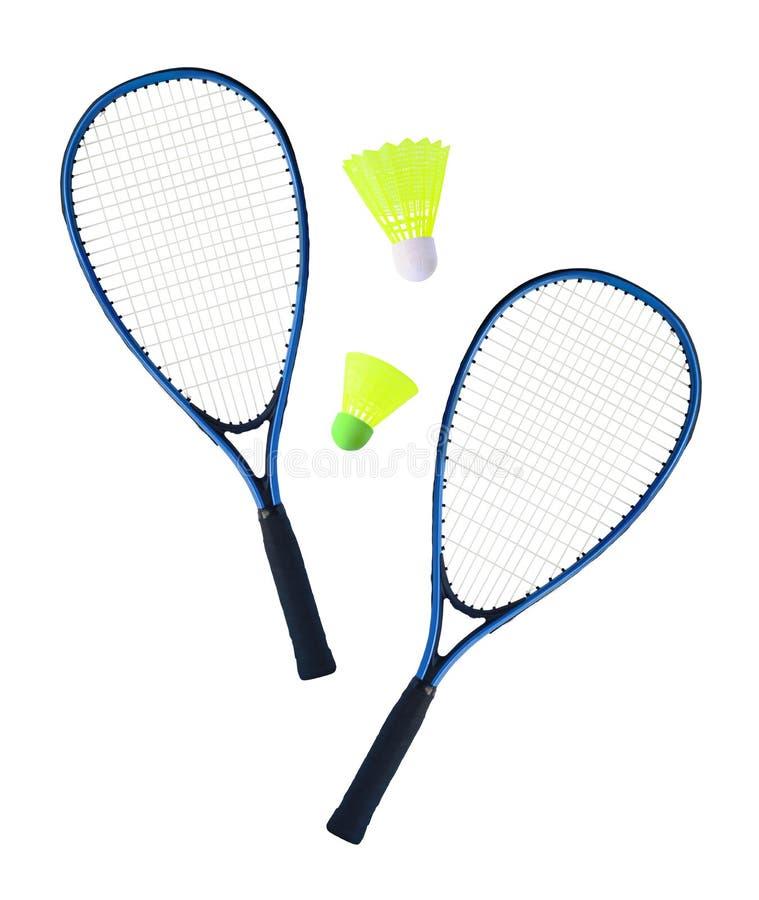 Racket och fjäderbollar för badminton eller speedminton royaltyfri fotografi