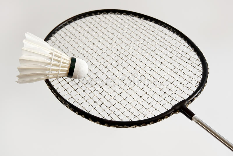 Racket with shuttlecock stock image