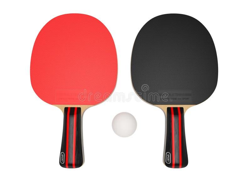 Rackets en bal De apparatuur van het pingpong 3d teruggevende geïsoleerde illustratie vector illustratie