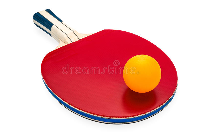 Rackets and ping pong ball for playing table tennis stock photos