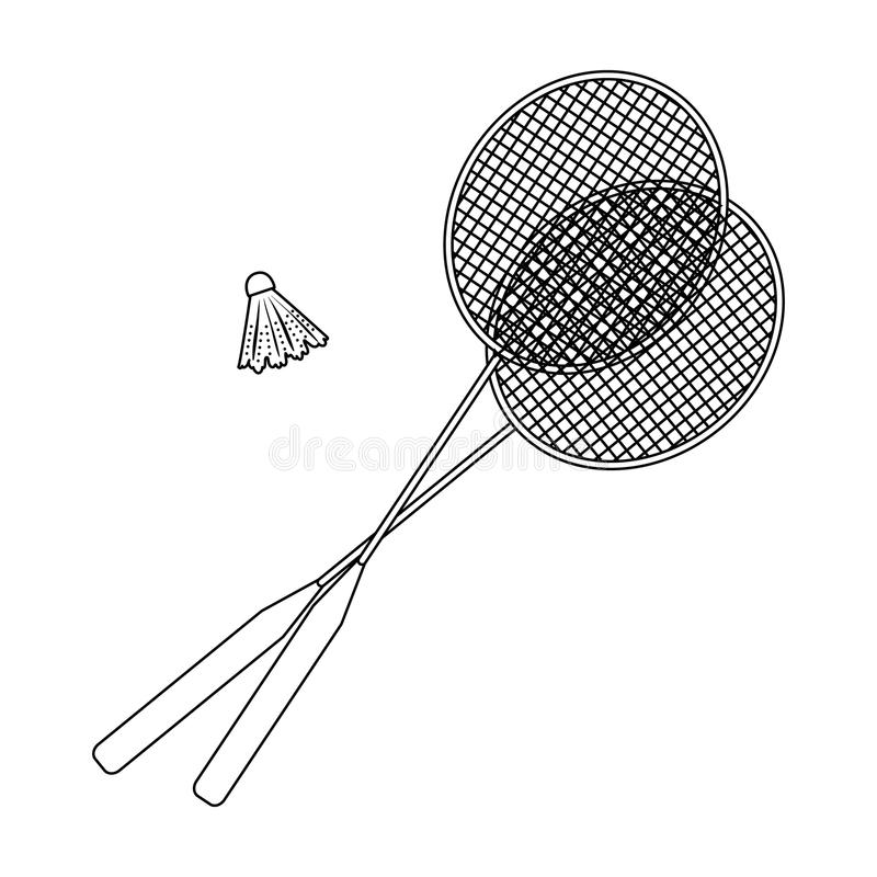 Rackets and a shuttlecock for badminton.Summer rest single icon in outline style vector symbol stock illustration. royalty free illustration