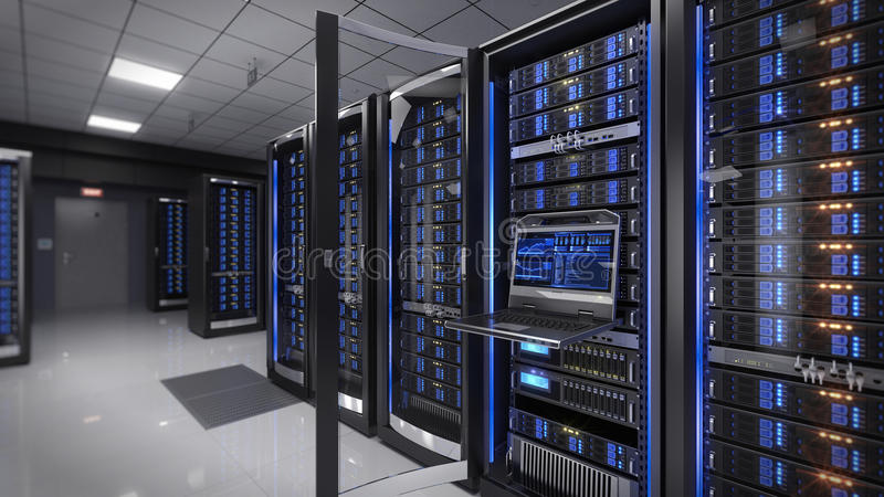 Rackmount LED console in server room data center. 3d illustration stock illustration