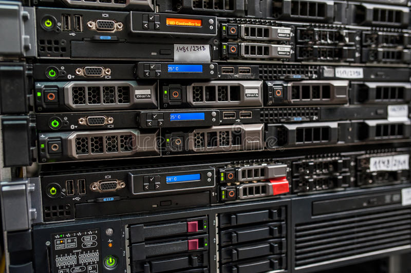 Rackmount LED console in server room data center stock images