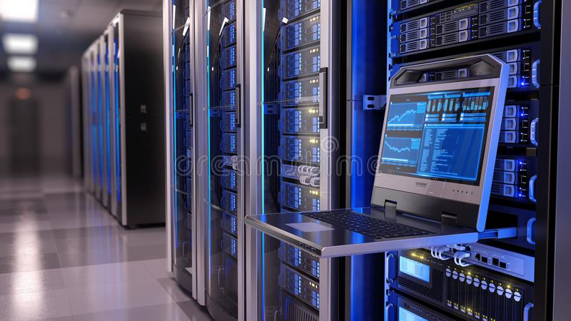 Rackmount LED console in server room data center royalty free stock photo