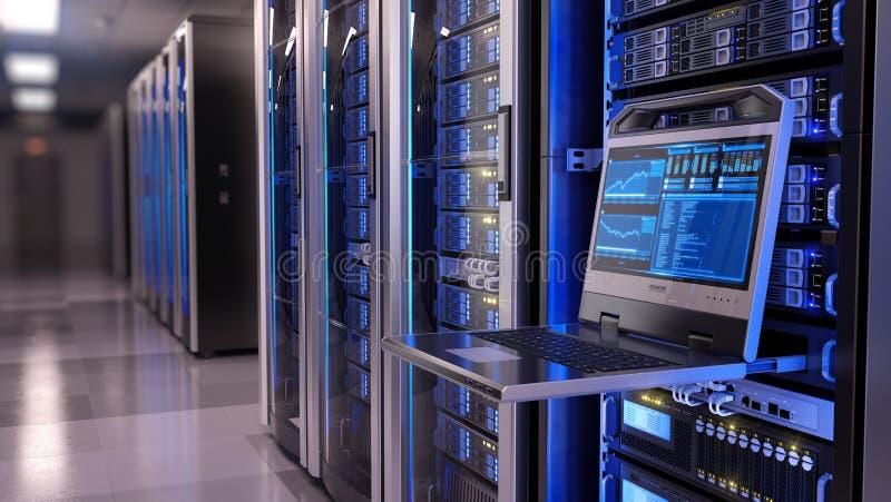 Rackmount LEDD konsol i serverrumdatorhall royaltyfri foto