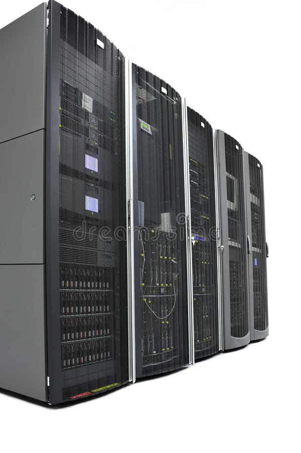 Racks in a datacenter. Racks with tape libraries, storage and servers in a flexible and scalable infrastructure