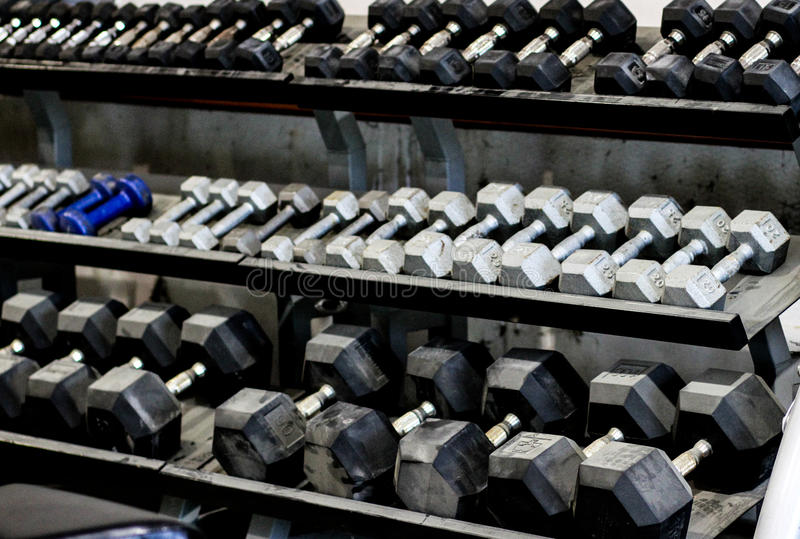 Racks of Dumbells. At a gym royalty free stock image