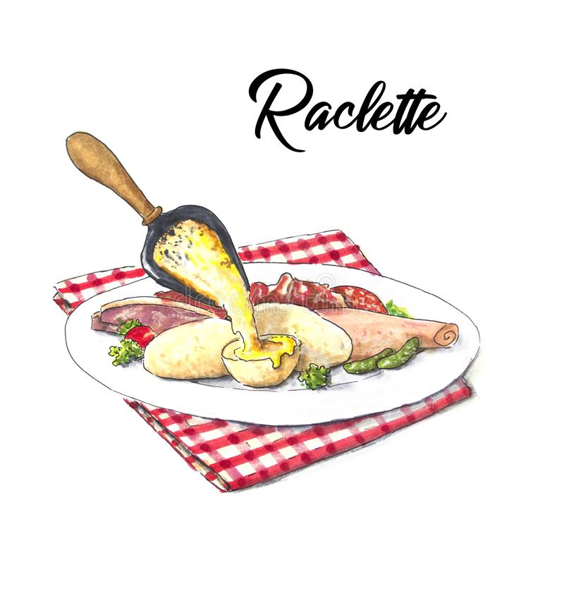 Raclette hand drawn sketch with potatoes and ham vector illustration