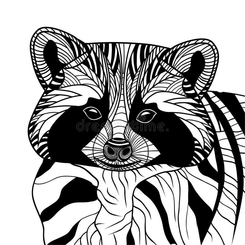 Line Drawing Raccoon : Racoon or coon head animal illustration stock