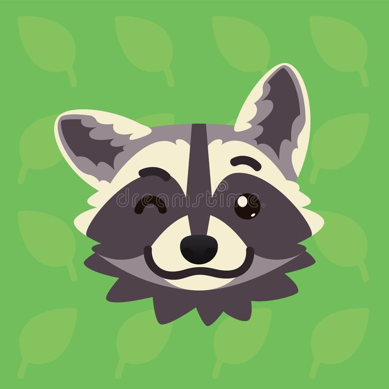 Racoon emotional head. Vector illustration of cute coon blinking shows playful emotion. Blink eye emoji. Smiley icon. Print, chat, communication. Grey raccoon vector illustration
