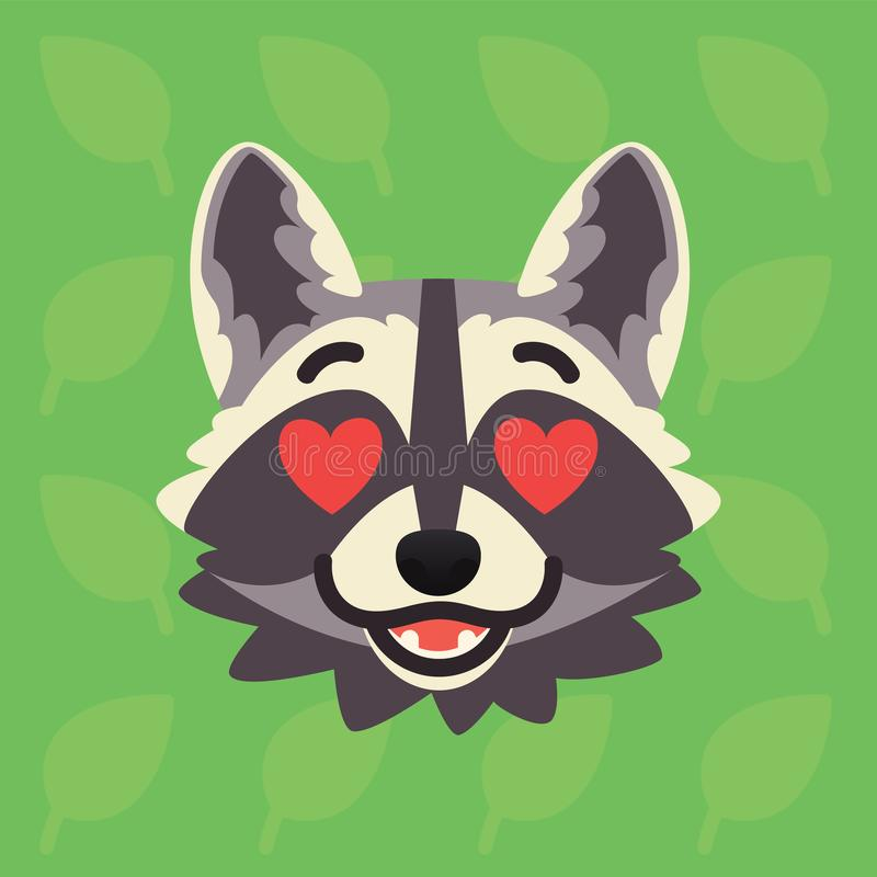 Racoon emotional head. Vector illustration of cute coon with hearts in eyes shows amorous emotion. In love emoji. Smiley. Icon. Print, chat, communication. Grey royalty free illustration