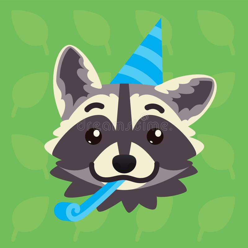 Racoon emotional head. Vector illustration of cute coon shows greeting emotion. Celebrating emoji. Smiley icon. Print. Chat, communication. Grey raccoon in royalty free illustration