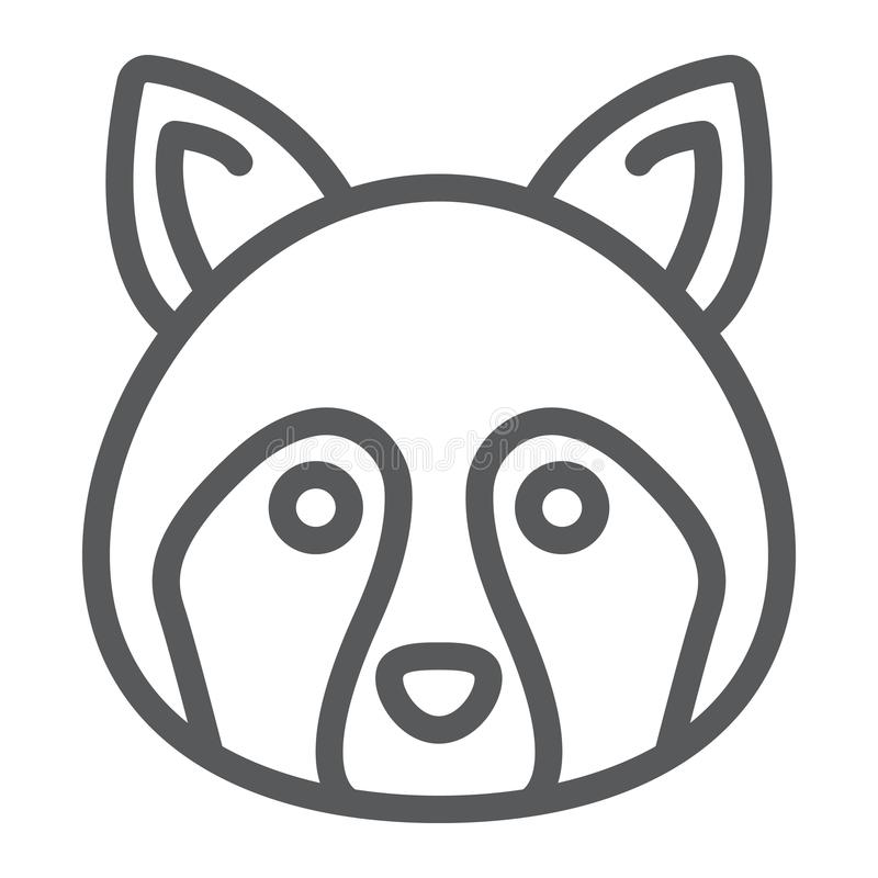 Racoon line icon, animal and zoo, coon sign. Vector graphics, a linear pattern on a white background, eps 10 royalty free illustration