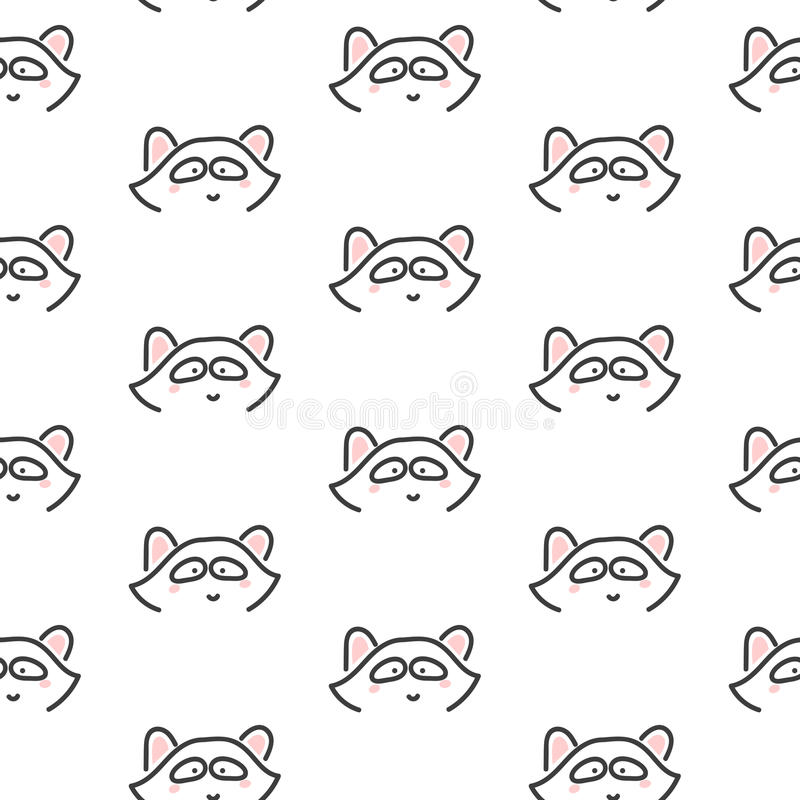 Racoon stylized line fun seamless pattern for kids and babies. Cute animal fabric design for textile linen and apparel in scandinavian simple style vector illustration