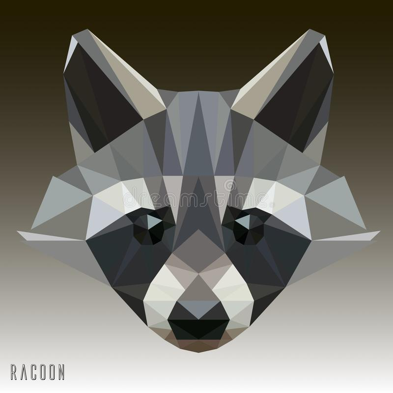 Racoon Vector Geometrical Illustration Drawing royalty free stock image