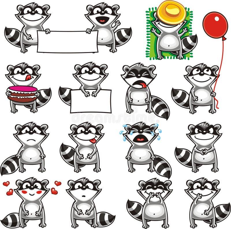 Racoons divertidos (2) ilustración del vector